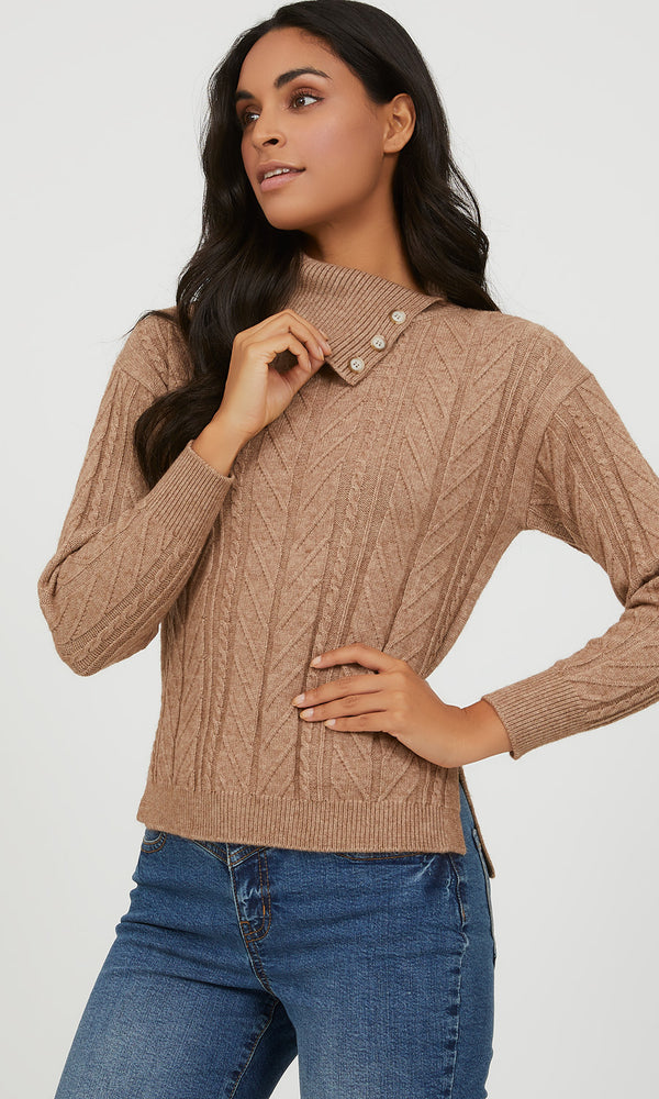 Suzy Shier Cable Knit Sweater (Lt Brown)