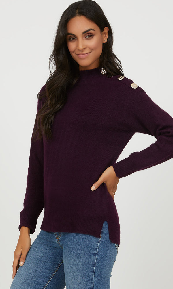 Buttons on Shoulder Mock Neck Sweater