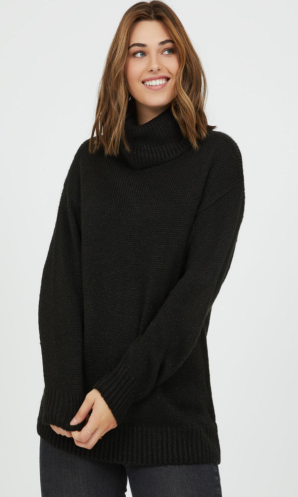 Metallic Knit Turtleneck Sweater