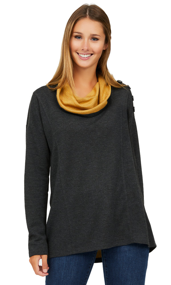French Terry Melange Knit Top