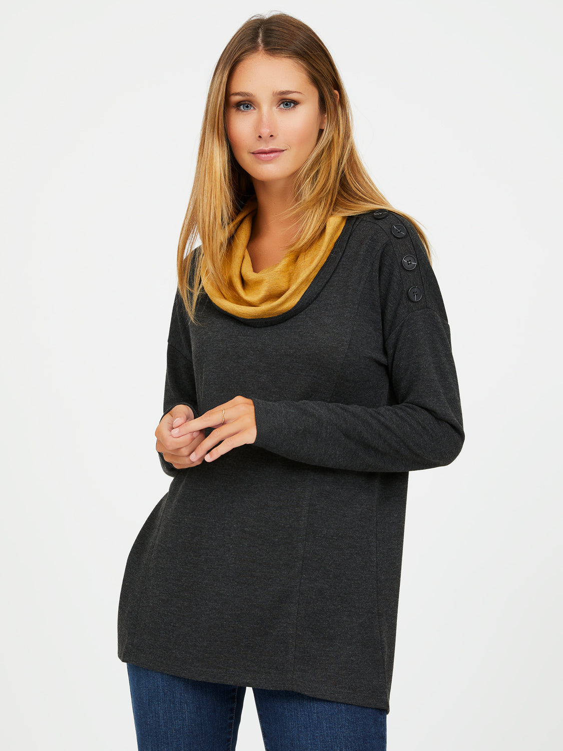 French Terry Cowl Neck Sweater