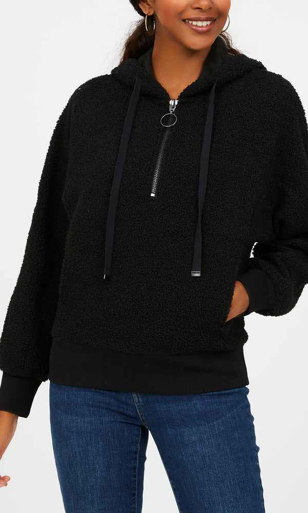 Long Sleeve Pull-On Teddy Hoodie