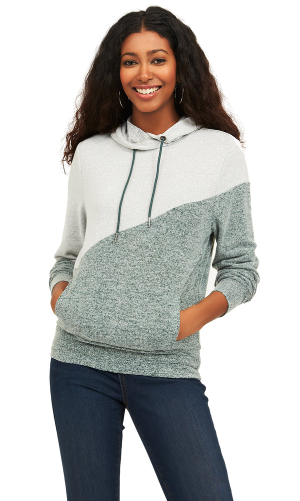 Colour Block Brushed Knit Hoodie