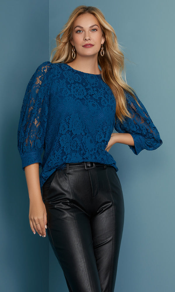 Elbow Sleeve Lace & Crochet Top