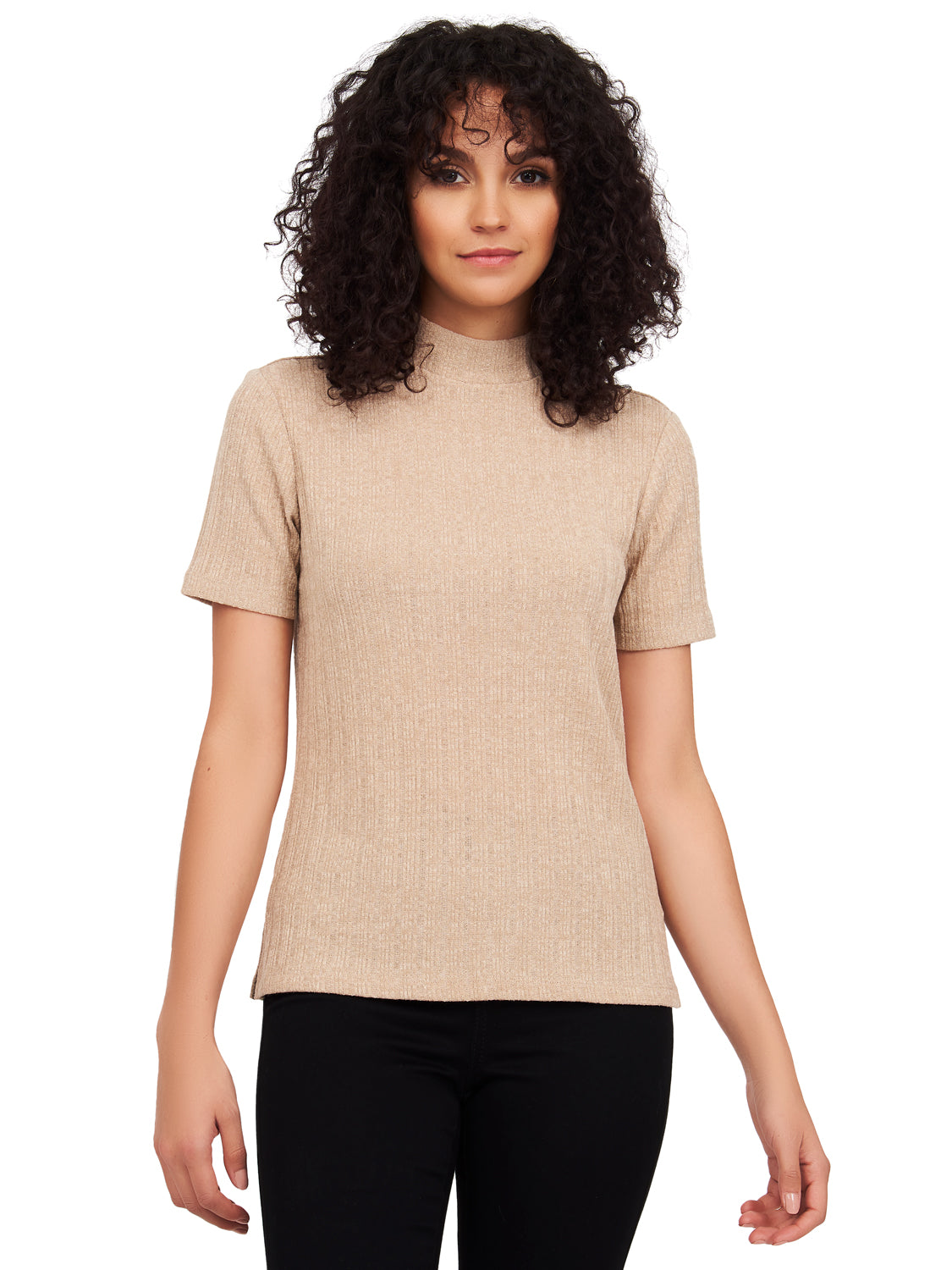 Mock Neck Variegated Rib Knit Top