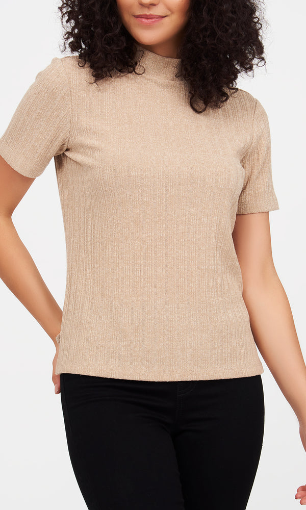 Mock Neck Variegated Ribbed Top