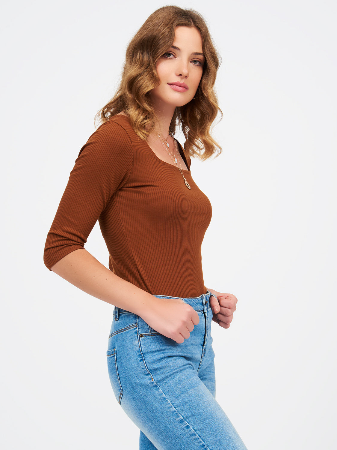 Ribbed Elbow Sleeve Square Neck Tee