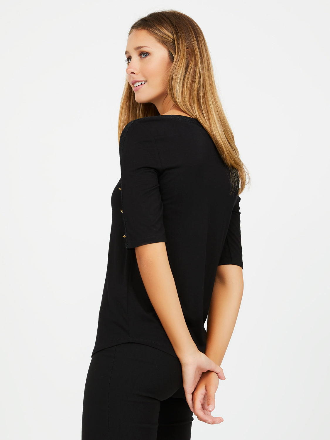 Elbow Sleeve Boat Neck Top