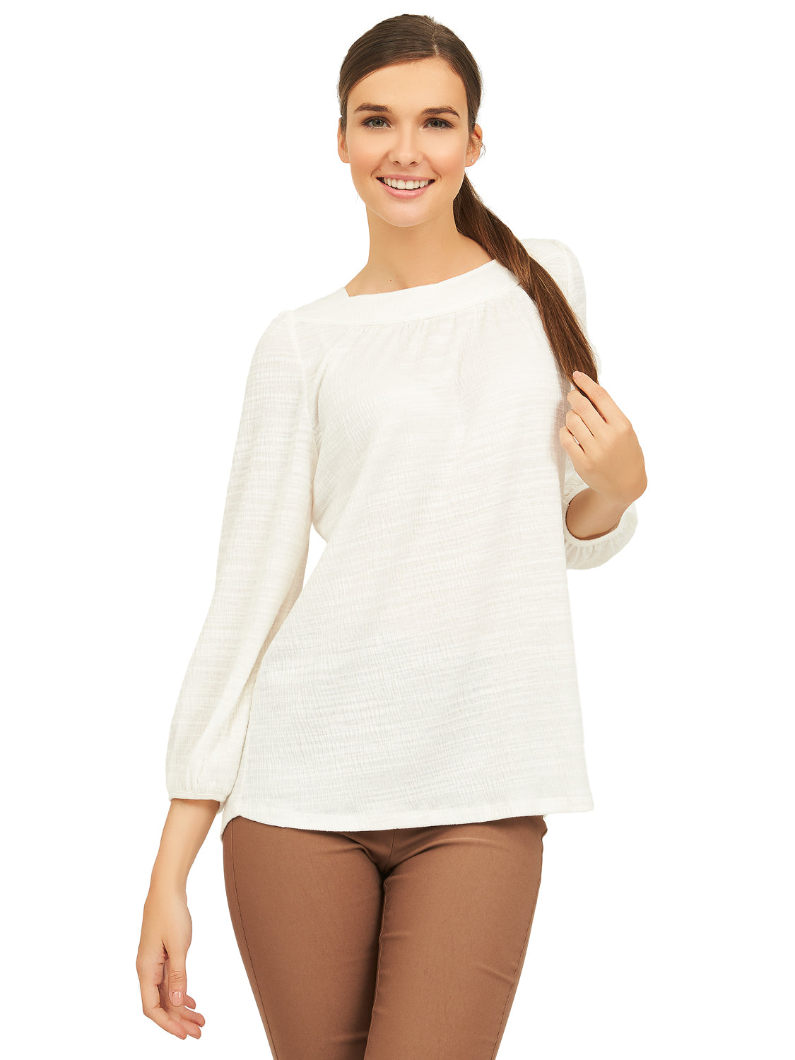 Long Poof Sleeve Boat Neck Top