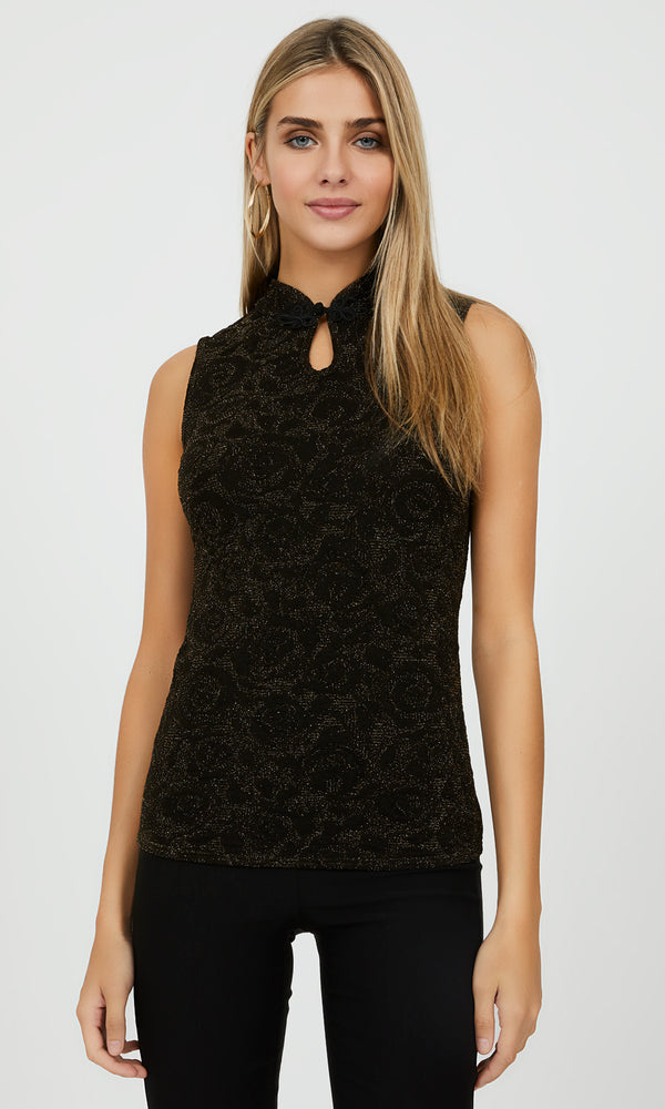 Sleeveless Mandarin Collar Jacquard Knit Top