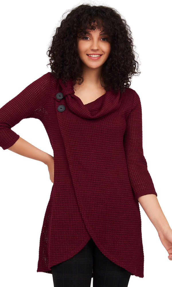 3/4 Sleeve Waffle Knit Crossover Sweater