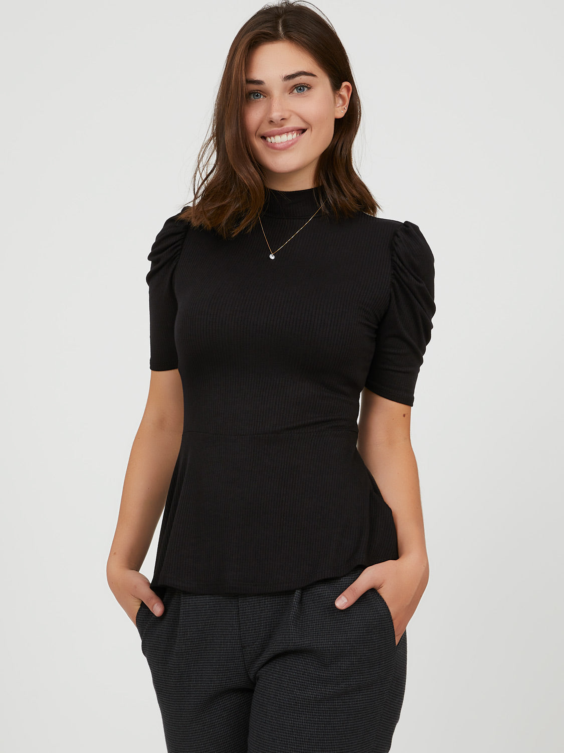 Puff Elbow Sleeve Peplum Top