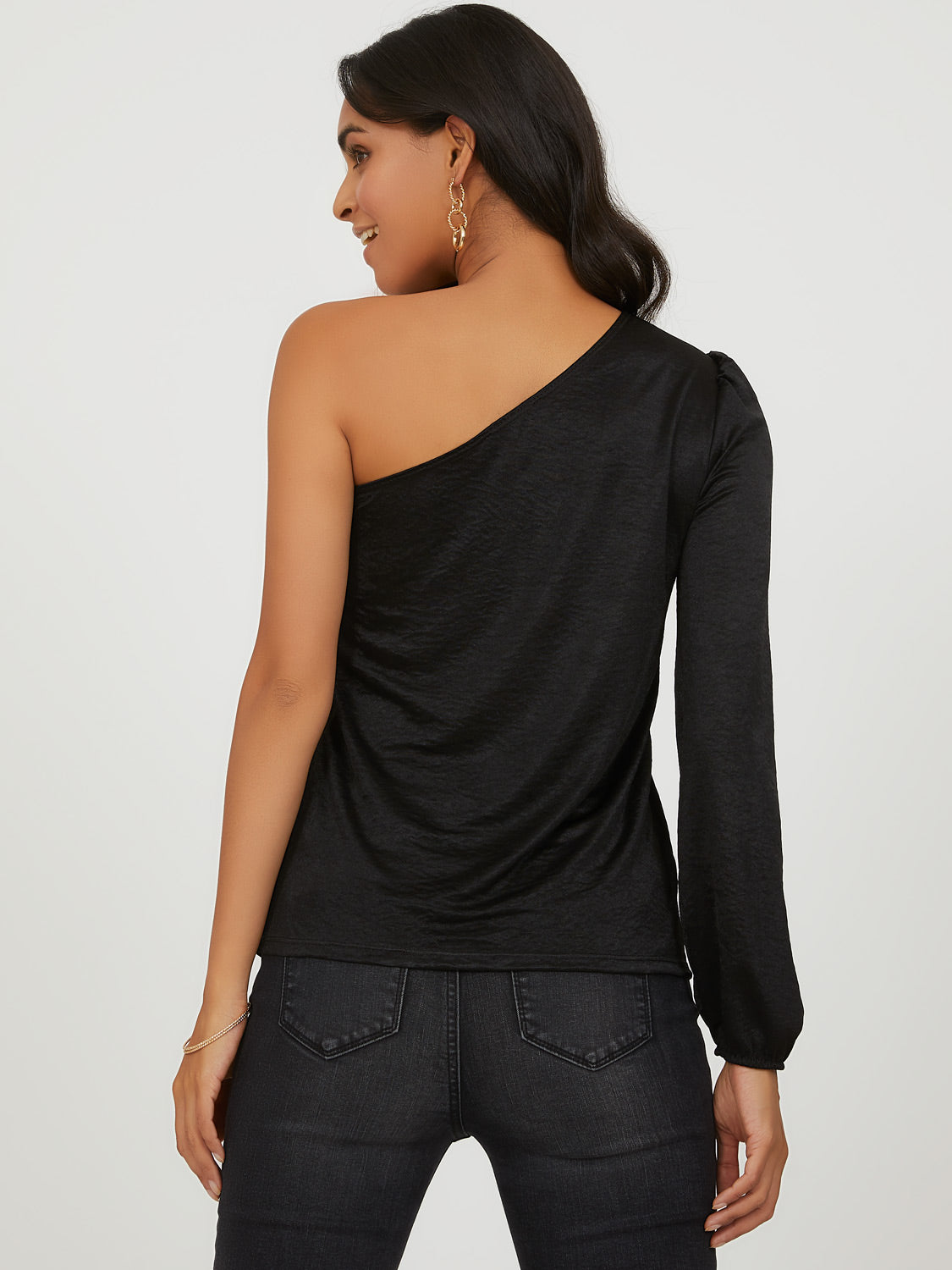 One Shoulder Puffy Sleeve Top