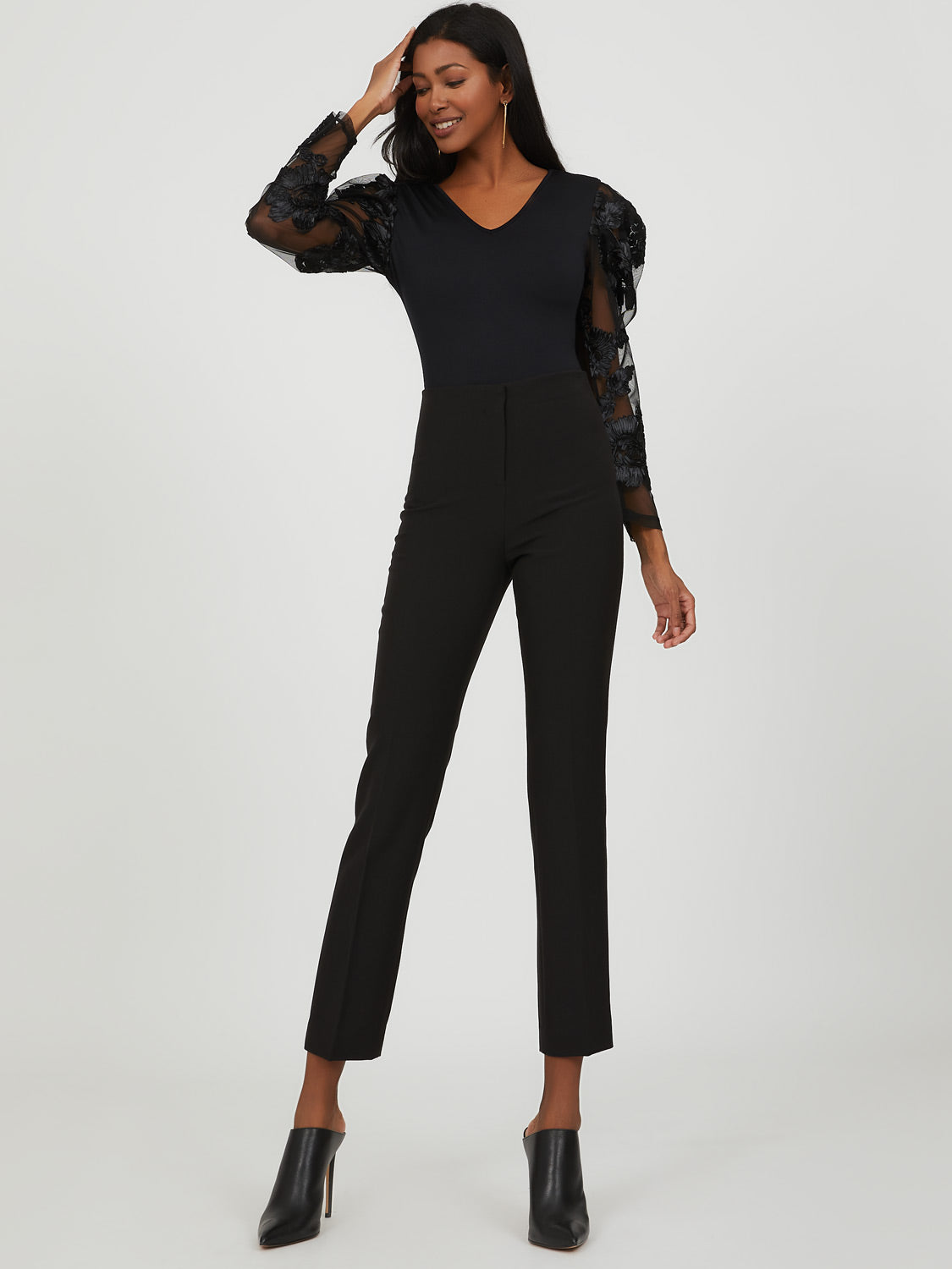 Embroidered Mesh Puff Sleeve Bodysuit