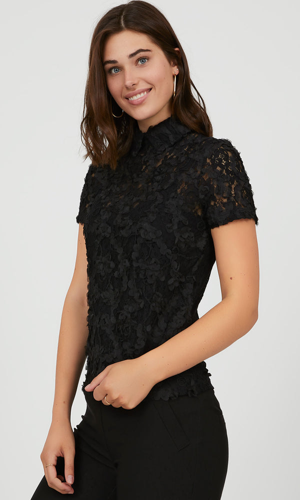 Embroidered Lace Peter Pan Collar Top