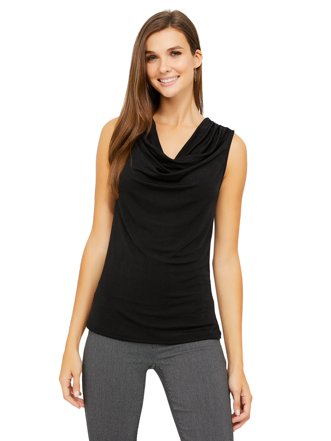 Sleeveless Slinky Cowl Neck Tank Top