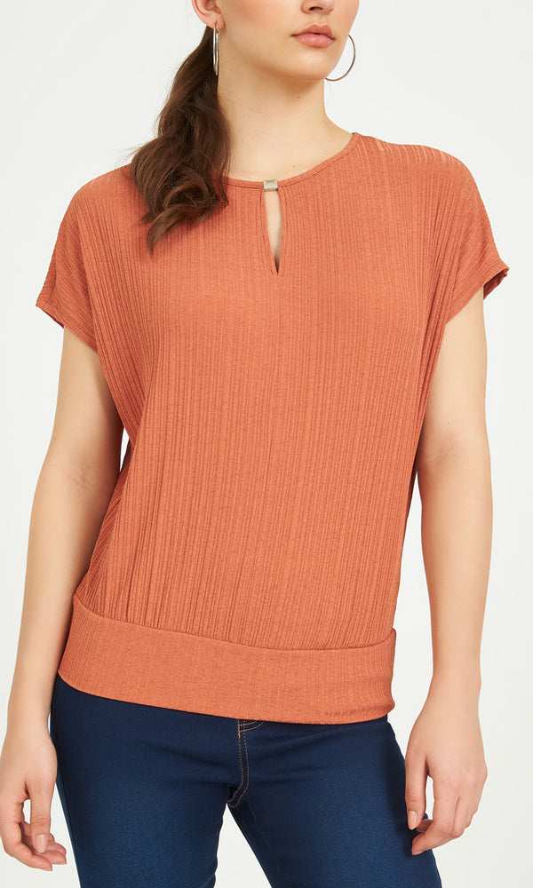 Printed Dolman Onion Skin Sleeves Tee