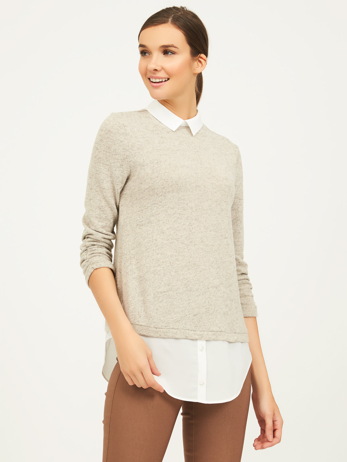 ¾ Ruched Sleeve Mélange Top