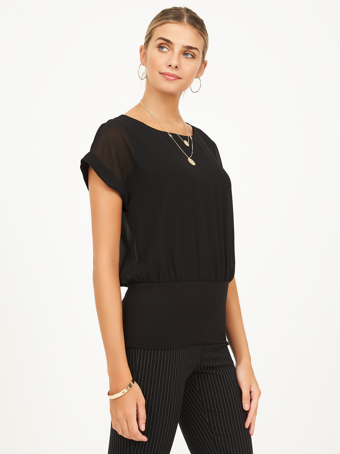 Cuffed Sleeve Chiffon Top