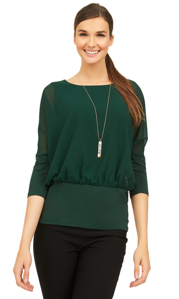 Chiffon Overlay Top with Knit Lining