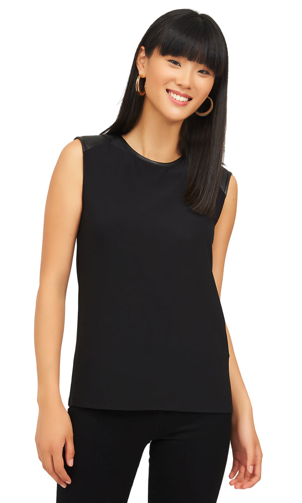 Sleeveless Faux Leather Trim Top