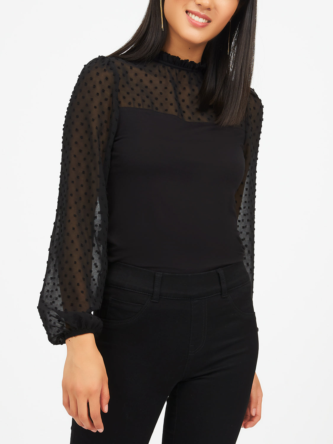 Swiss Dot Chiffon And Yoke Mesh Blouse
