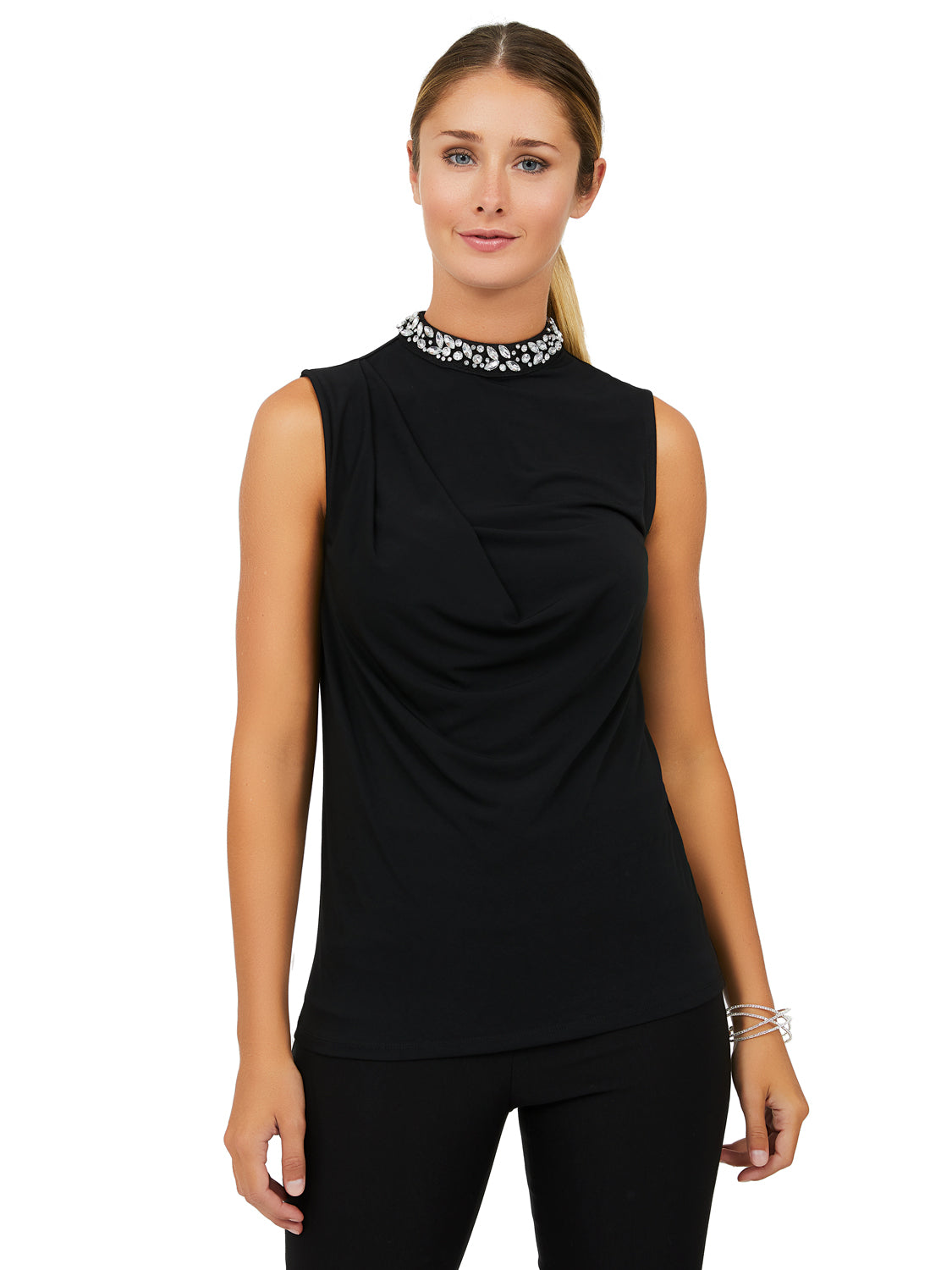 Sleeveless ITY Rhinestone Mock Neck Top
