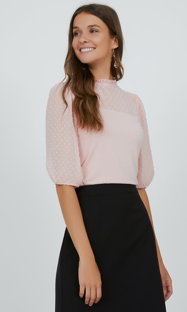 Pretty Swiss Dot Chiffon Pie-Crust Neck Top