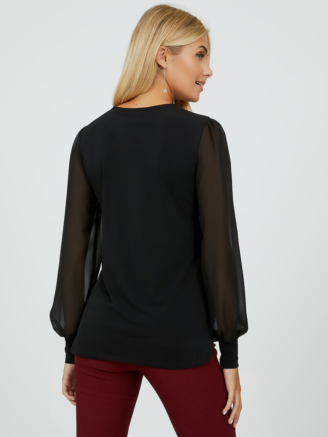 Chiffon Bubble Sleeve Work Top