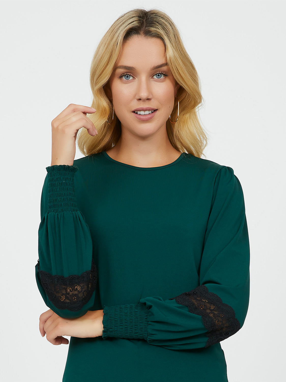 Lace Trim Knit Top