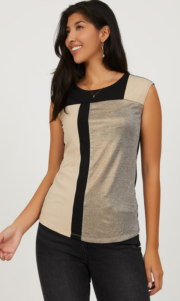 Sleeveless Colour Block Top