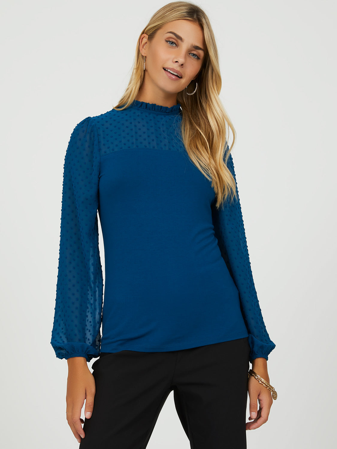 Chiffon Sleeve Pie Crust Collar Top