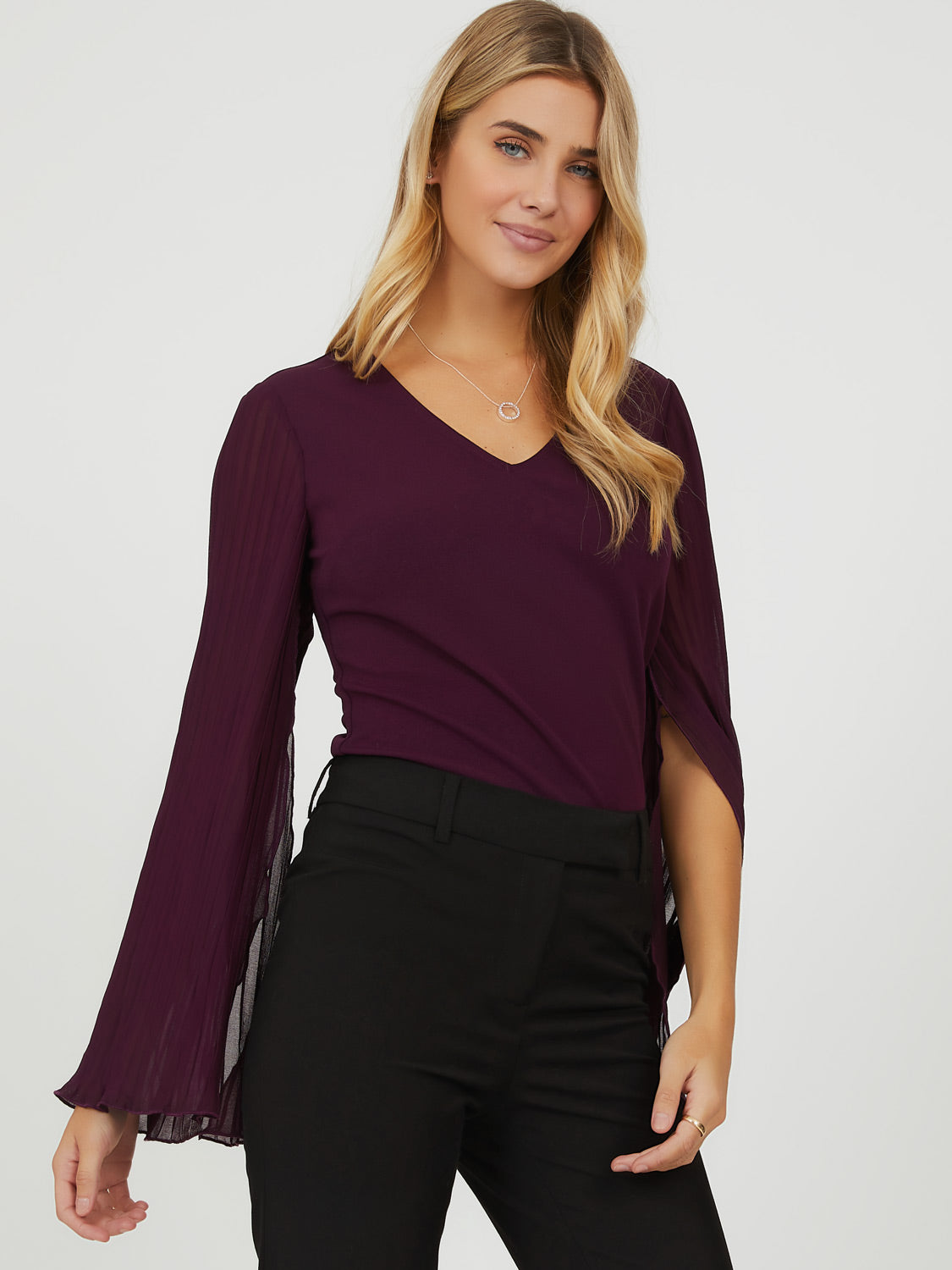 Pleated Chiffon Cape Sleeve Top
