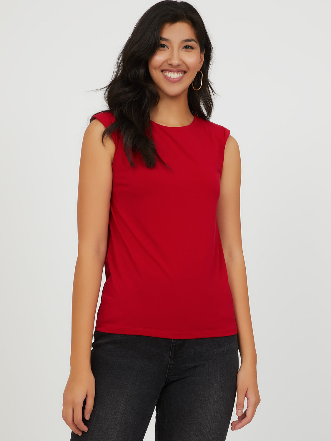 Sleeveless Shoulder Pad Top