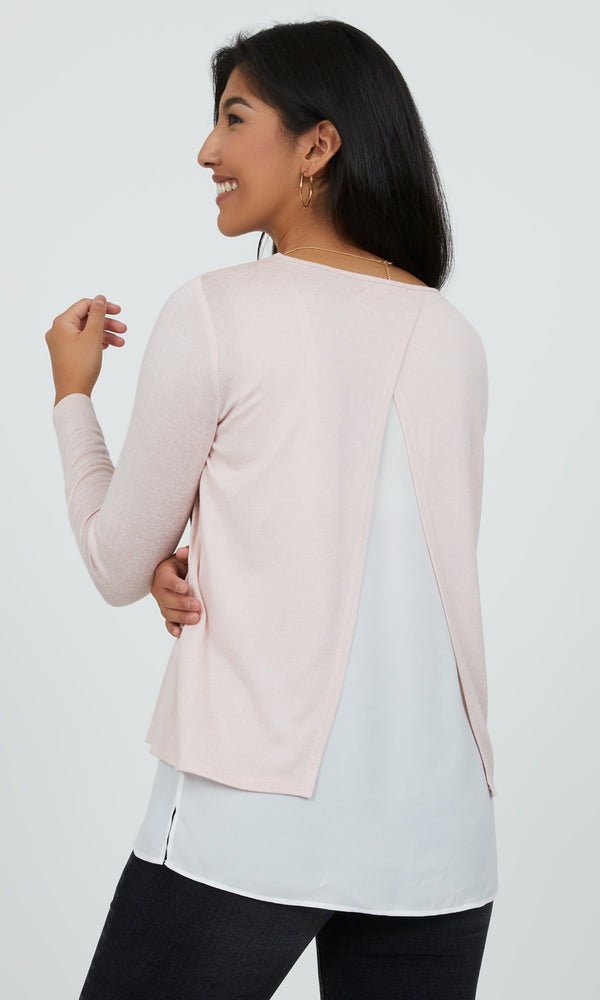Double Layer Chiffon & Knit Top