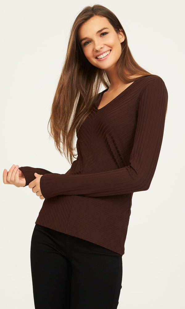 Long Sleeve Knit Rib V-Neck Top