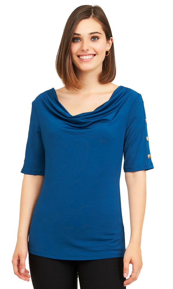 Elbow Sleeve Cowl Neck Top
