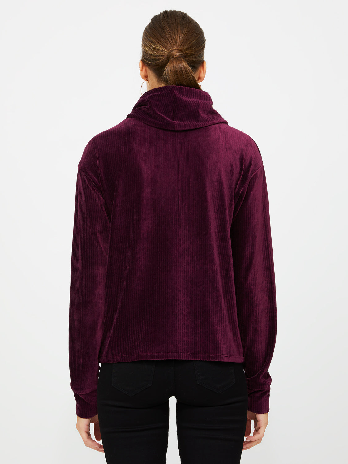 Long Sleeve Velour Corduroy Turtleneck