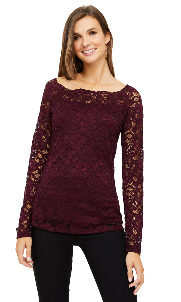 Fitted Stretch Lace Boat Neck Top