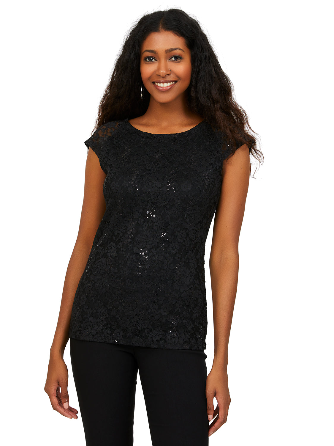 Boat Neck Lace & Sequin Top