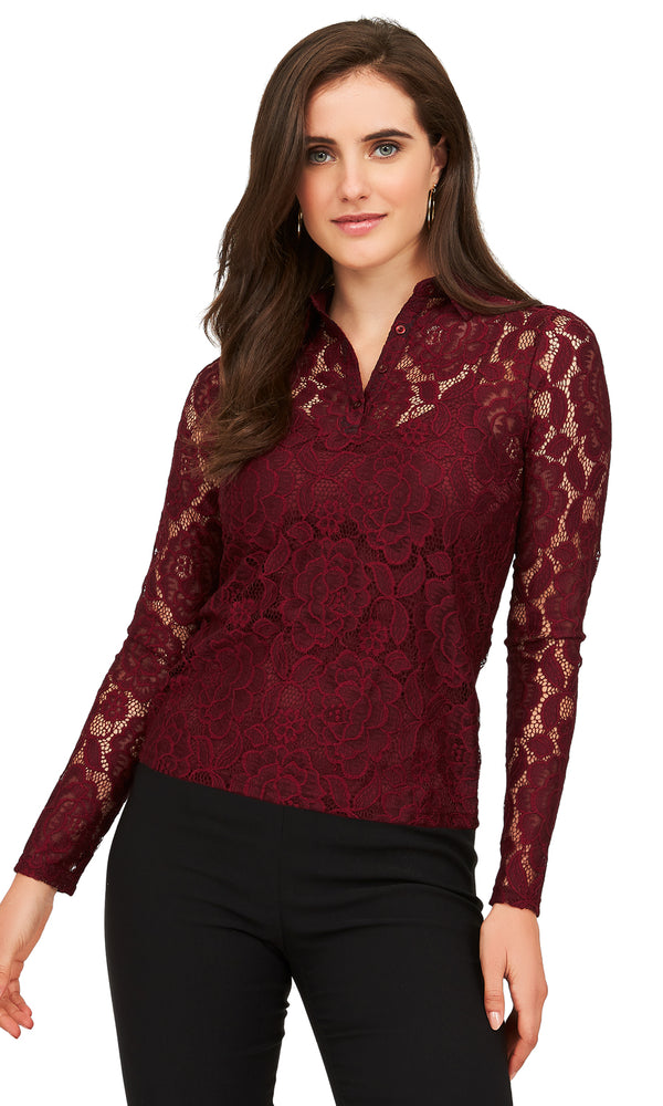 All-Over Stretch Lace Top
