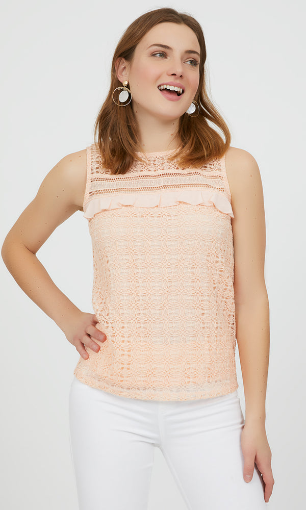 Sleeveless Crochet Ruffle Tank Top
