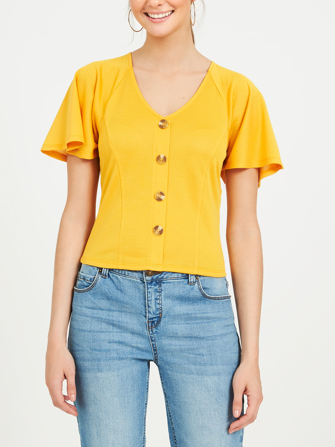 Flutter Sleeve Knit Tee With Torte Buttons