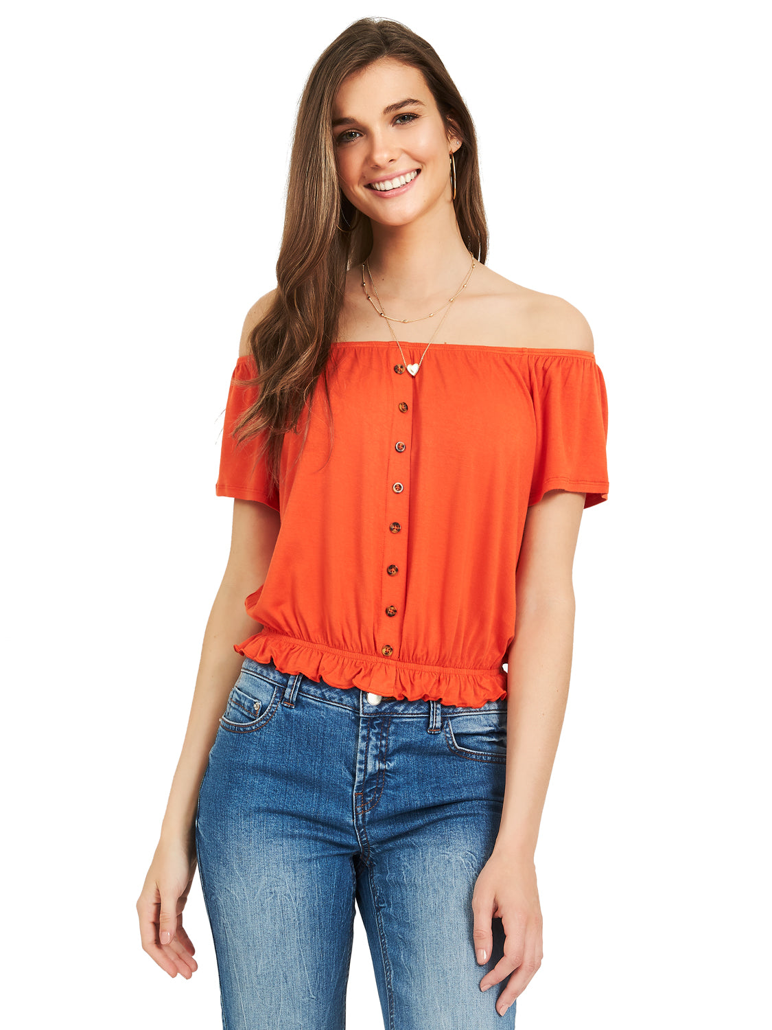 Off-The-Shoulder Jersey Peasant Top