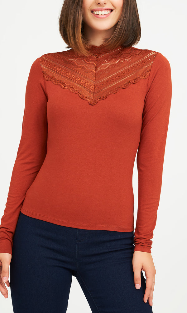 Mock Neck Crepe Knit Top