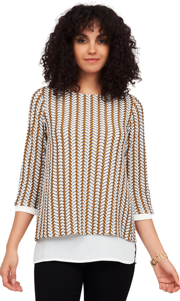 2-Tone Pucker Knit Top