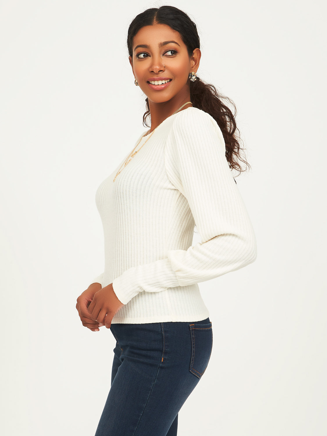 Long Poof Sleeve Ribbed Top