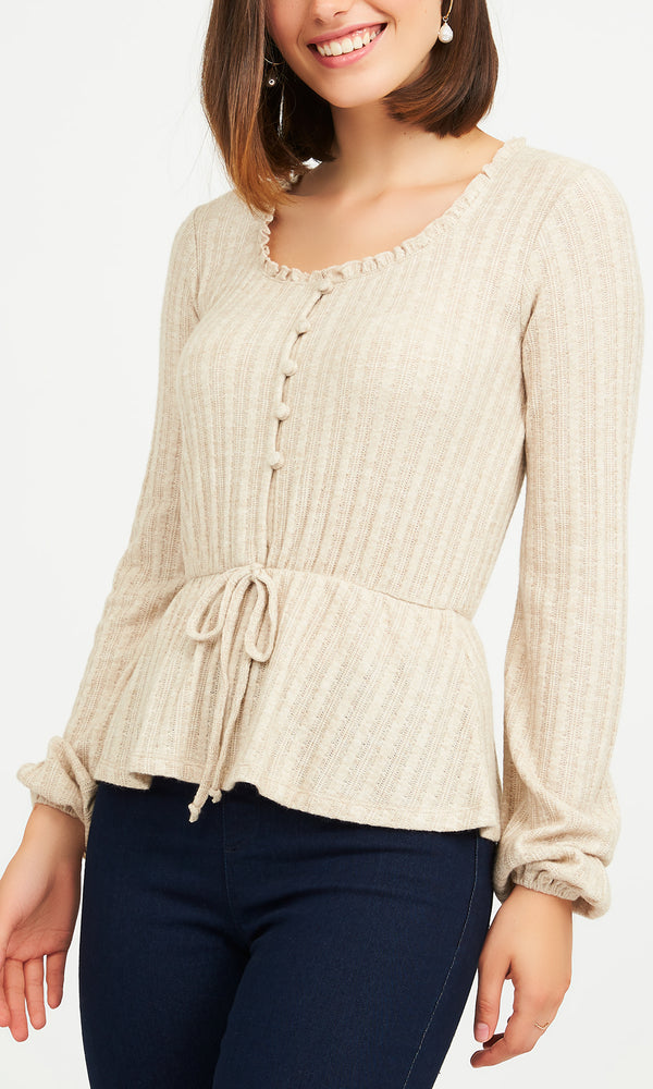 Ruffled Neck Crochet Mélange Jersey Top