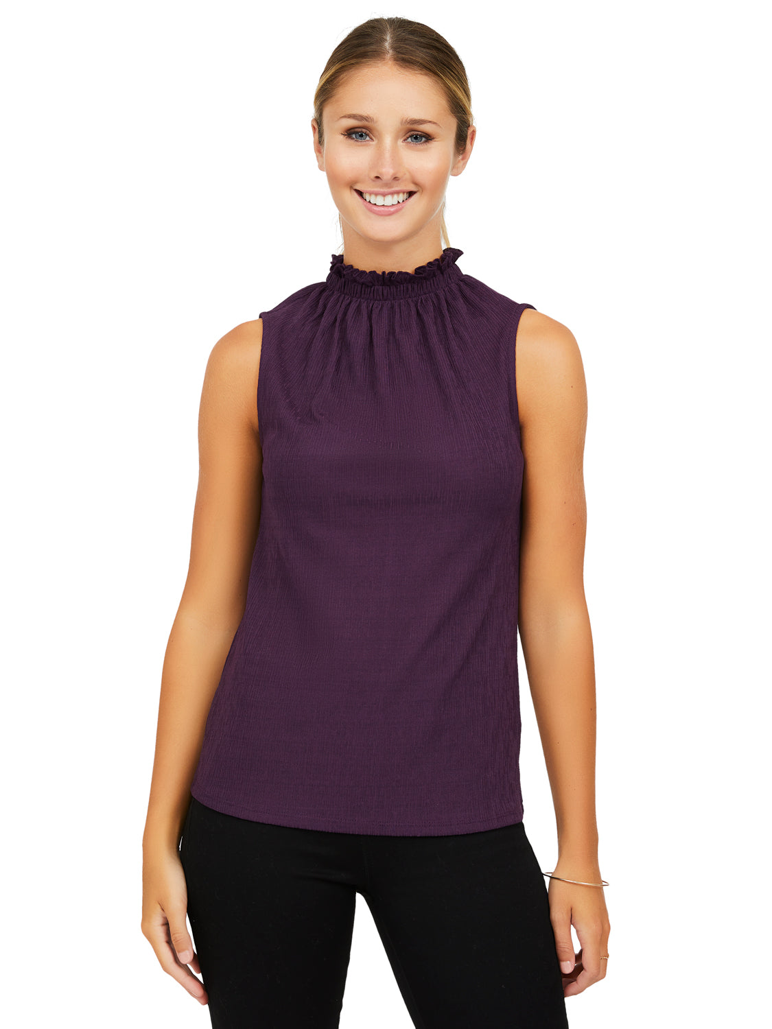 Sleeveless Onion Skin Rib Knit Top
