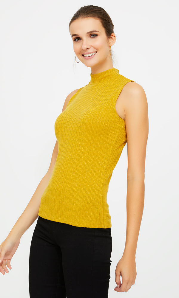 Sleeveless Mock Neck Rib Knit Top